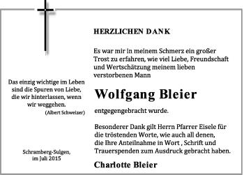 Zur Gedenkseite von Wolfgang Bleier