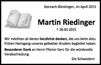Zur Gedenkseite von Martin Riedinger