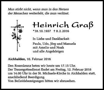 Zur Gedenkseite von Heinrich Graß