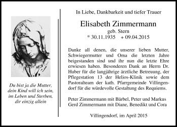 Zur Gedenkseite von Elisabeth Zimmermann