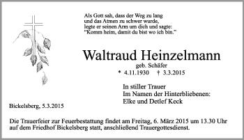 Zur Gedenkseite von Waltraud Heinzelmann
