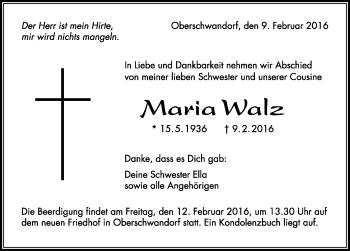 Zur Gedenkseite von Maria Walz