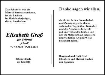 Zur Gedenkseite von Elisabeth Groß
