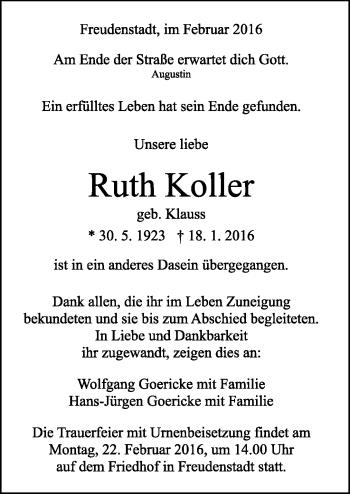 Zur Gedenkseite von Ruth Koller