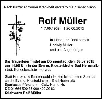 Zur Gedenkseite von Rolf Müller