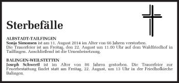 Zur Gedenkseite von Sterbefälle vom 20.08.2014