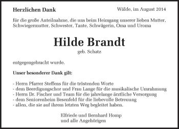 Zur Gedenkseite von Hilde  Brandt