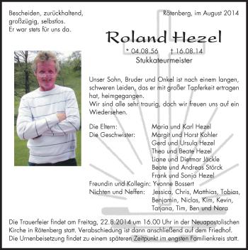 Zur Gedenkseite von Roland Hezel