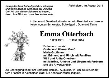 Zur Gedenkseite von Emma Otterbach