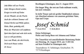 Zur Gedenkseite von Josef Schmid