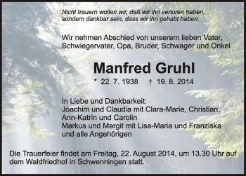 Zur Gedenkseite von Manfred Gruhl