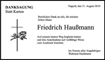 Zur Gedenkseite von Friedrich Haußmann
