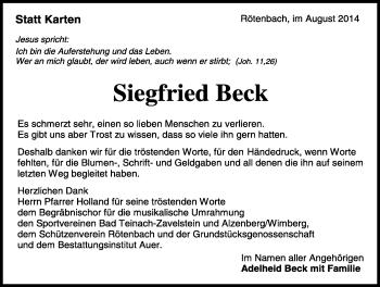 Zur Gedenkseite von Siegfried  Beck