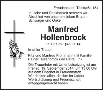 Zur Gedenkseite von Manfred Hollenbrock