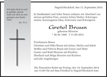 Zur Gedenkseite von Gretel Braun
