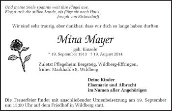 Zur Gedenkseite von Mina Mayer