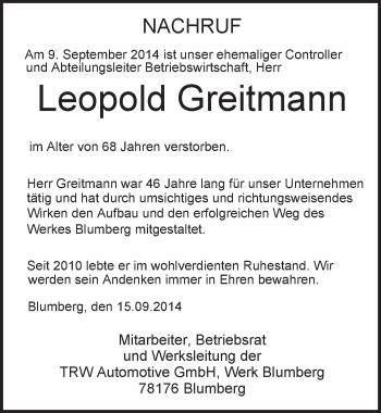Zur Gedenkseite von Leopold Greitmann