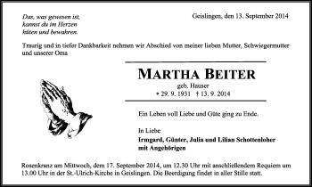 Zur Gedenkseite von Martha Beiter
