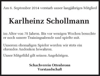 Zur Gedenkseite von Karlheinz Schollmann