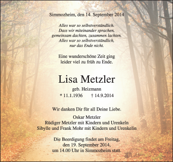 Zur Gedenkseite von Lisa Metzler