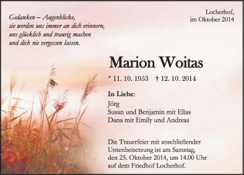 Zur Gedenkseite von Marion Woitas