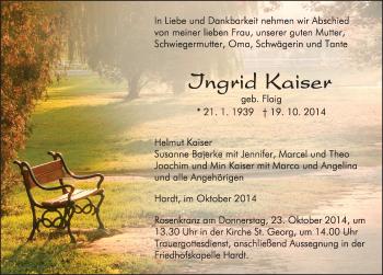 Zur Gedenkseite von Ingrid Kaiser