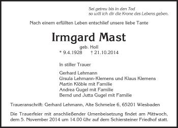 Zur Gedenkseite von Irmgard Mast