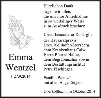 Zur Gedenkseite von Emma Wentzel