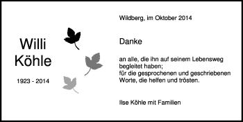 Zur Gedenkseite von Willi Köhle