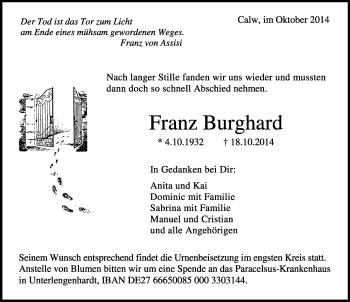 Zur Gedenkseite von Franz Burghard