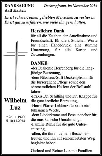 Zur Gedenkseite von Wilhelm Luz
