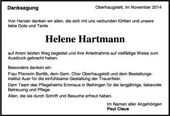 Zur Gedenkseite von Helene Hartmann