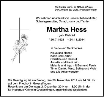 Zur Gedenkseite von Martha Hess