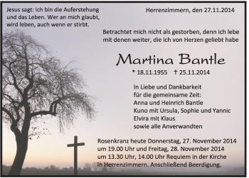 Zur Gedenkseite von Martina Bantle