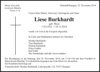 Zur Gedenkseite von Liese Burkhardt
