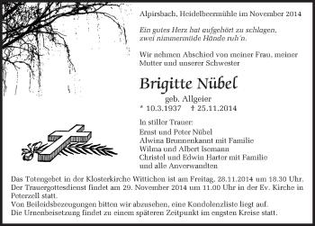 Zur Gedenkseite von Brigitte Nübel