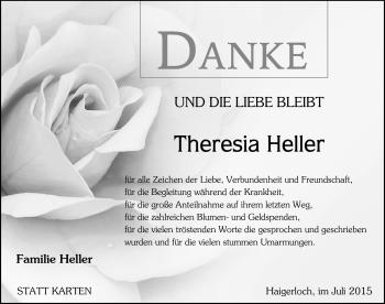 Zur Gedenkseite von Theresia Heller