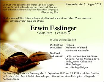 Zur Gedenkseite von Erwin Esslinger