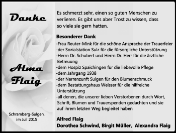 Zur Gedenkseite von Alma Flaig