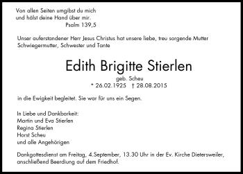 Zur Gedenkseite von Edith Brigitte Stierlen