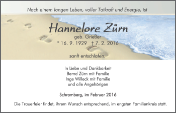 Zur Gedenkseite von Hannelore Zürn