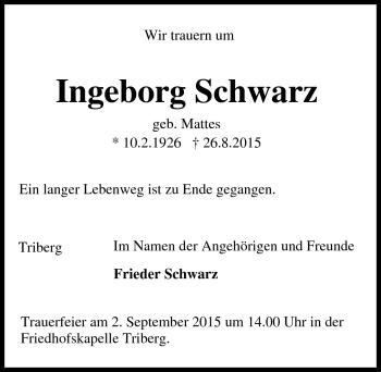 Zur Gedenkseite von Ingeborg Schwarz