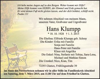Zur Gedenkseite von Hans Klumpp