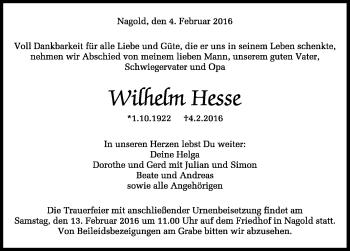 Zur Gedenkseite von Wilhelm Hesse
