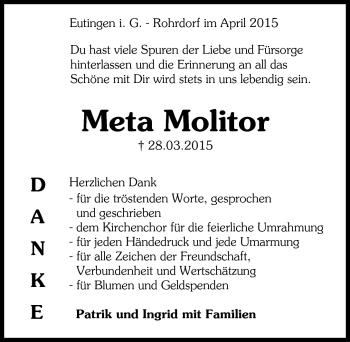 Zur Gedenkseite von Meta Molitor