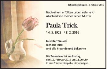 Zur Gedenkseite von Paula Trick