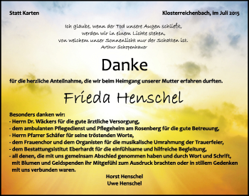 Zur Gedenkseite von Frieda Henschel