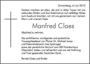 Zur Gedenkseite von Manfred Claes