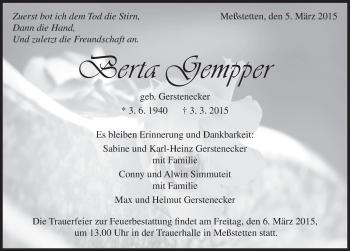 Zur Gedenkseite von Berta Gempper