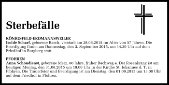 Zur Gedenkseite von Totentafel vom 31.8.2015